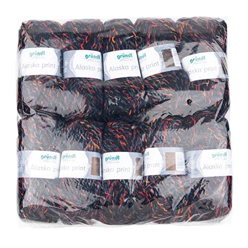 Gründl 3422–07 Alaska Print, Avantage Pack de 10 à Tricoter 100 g Fil Tricoté à la Main 80% polyacrylique, 20% Laine, Dark Night Color, 40 X 37 X 11 cm
