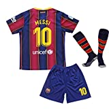 MGGALY Messi #10 Barcelona Home 2019/2020 Season Kids Youth Sport T-Shirts & Shorts & Socks (13-14Year/Size28) Red/Blue