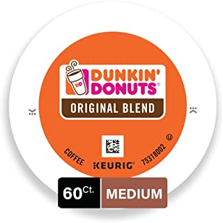 Dunkin' Donuts Original Blend Medium Roast Coffee, 60 K Cups for Keurig Coffee Makers