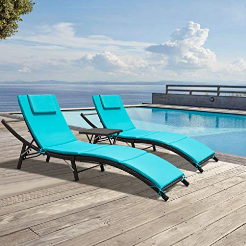 GUNJI 3 Pieces Patio Chaise Lounge Sets Adjustable Oudoor Lounge Chair Modern Outdoor Furniture Set PE Wicker Rattan Backrest Lounger Chair Patio Chaise Lounge with Folding Table (Blue)
