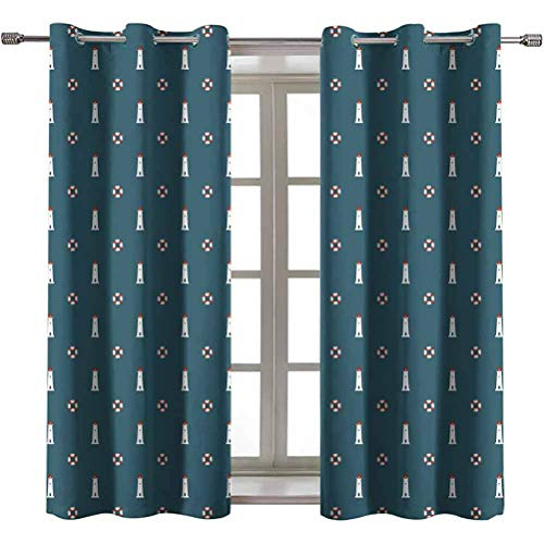 Opehodecor Lighthouse Blocking Draperies Nautical Pattern with Life Buoys and Marine Architecture Navigation Nursery and Kids Bedroom Curtains 84 x 84 inch