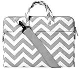 MOSISO Laptop Shoulder Bag Compatible with 2019 2018 MacBook Air 13 inch Retina Display A1932, 13 inch MacBook Pro A2159 A1989 A1706 A1708, Chevron Carrying Handbag Briefcase Sleeve, Gray