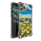 SEEKJOYS - Carcasa protectora para iPhone 11 Pro de 5,8 pulgadas (cristal transparente), diseño de flores de crisantemo blanco
