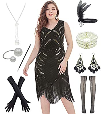 1920s Plus Size Long Prom V Neck Beaded Sequin Gatsby Maxi Evening Dress with 20s Accessories Set