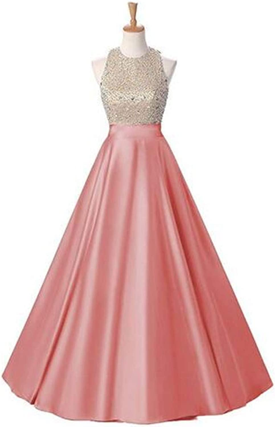 Aline Beaded Backless Formal Wedding Party Prom Dress