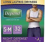 Depend Night Defense Incontinence Underwear for Men, Overnight, Disposable, Small/Medium,...