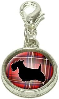 Scottie Dog on Red Plaid Scottish Terrier Dangling Bracelet Pendant Charm