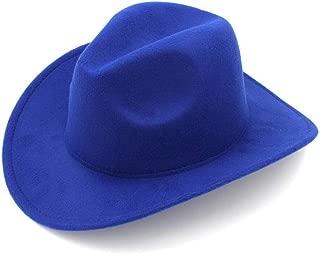 LiWen Zheng Wool Felt Fedora Cowboy Hat Solid Color Fedora Hat Western Cowboy Jazz Sun Hat Men's Women's Hat (56-58cm)