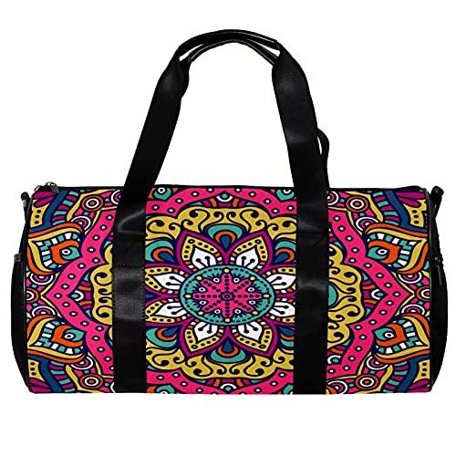 Bolsa de viaje para mujeres y hombres, mandala indio, psicodélico, deportes, gimnasio, bolsa de viaje durante la noche, bolsa de equipaje al aire libre