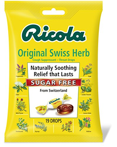 Ricola Sugar Free Original Swiss Herb Natural Cough Suppressant Throat Drops, 19 Drops (Pack of 12), Fights Coughs Naturally, Soothes Throats