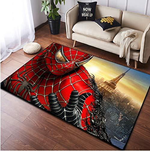 zzqiao Alfombra Estilo Europeo Y Americano Habitación para Niños Dibujos Animados Anime Spiderman Sala De Estar Dormitorio Área Antideslizante Rectangular Mat 80 * 120Cm