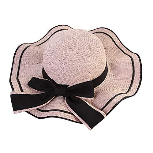 THNQ Neuer heißer Wide Brim Strohhüte Sommersonnenhüte Krempe Schutz Strand Hut Sonnenhut faltbar Sunblocker UV (Color : Pink, Size : One Size)