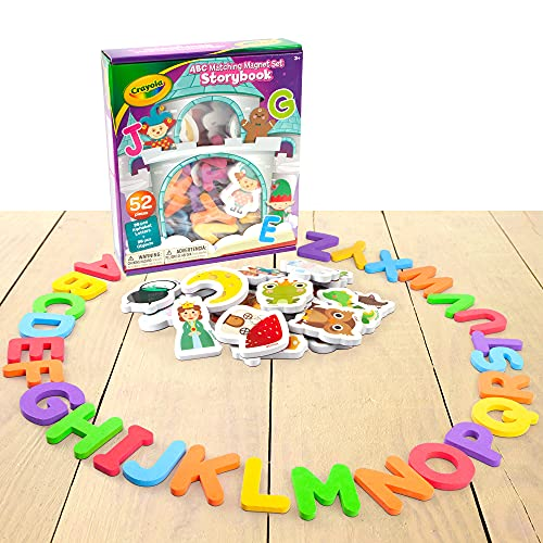 Crayola ABC Matching Magnet Set for Kids – Alphabetical Letter for Toddlers – Comes with Magnetic Animal Toys for Extra Learning – Classroom and Home Education Spelling Learning Set – Storybook