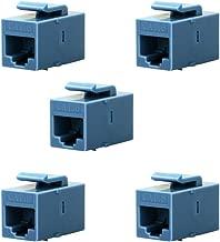 BATIGE 5-Pack CAT6 RJ45 Keystone Jack Female Coupler Insert Snap-in Connector Socket Adapter Port for Wall Plate Outlet Panel (Blue)