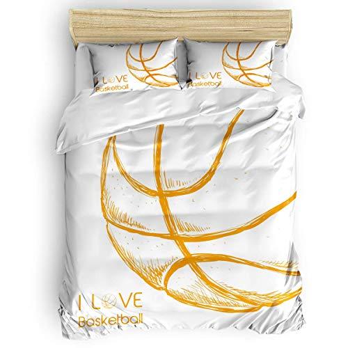 Juego de funda nórdica de 3 piezas Ropa de cama de microfibra I Love Basketball Yellow Line Sketch Ultra sedoso, suave, cálido y duradero Colección de ropa de cama premium para hombres, mujeres