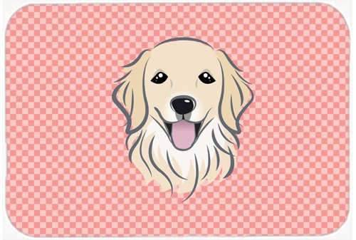 Caroline's Treasures BB1205MP Checkerboard Pink Golden Retriever Mouse Pad, Hot Pad or Trivet, Large, Multicolor