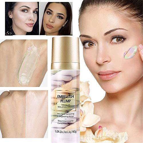 JHGJG Rainbow Tricolor Makeup Base, Tri-Tone One Step Creme Feuchtigkeitsspendender Concealer Repair Vormilch, unsichtbare Porenaufhellung Gesicht Geeignet für alle Hauttypen (1pcs)