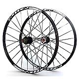 LHHL Juego Ruedas Bicicleta 26'/27.5'/29' MTB Llantas Doble Pared Hub Carbono Rodamiento Sellado Ruedas Bicicleta Freno Disco QR 11 Velocidades 24H (Color : Black, Size : 29')