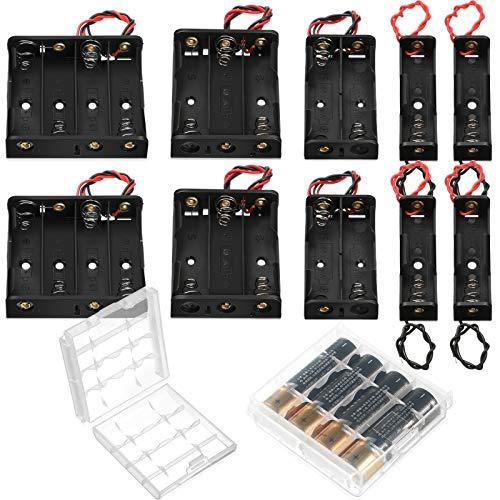 10 Piezas Portapilas AA Caja de Almacenamiento de Batería con Cable Alambre Soporte de Batería de Plástico Caja de Batería de Resorte con Caja de Batería de 2 Celdas, 1,5 V, 3 V, 4,5 V, 6 V
