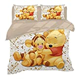 AQEWXBB Winnie the Pooh children's duvet cover, Winnie the Pooh bedding series, comfortable and warm style, suitable for four seasons. (A04, 150 x 200 cm)