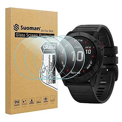 Suoman Tempered Glass Screen Protector for Garmin Fenix 6X Pro/ 6X Pro Solar/ 6X Sapphire Smartwatch (Not Fit for Fenix 6/6S)(4-Pack)