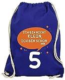 Hariz - Bolsa de deporte con texto en alemán 'Ich Bin nicht Klein Ich Bin Schon Fünf 5', con tarjeta de regalo, color azul real, tamaño talla única