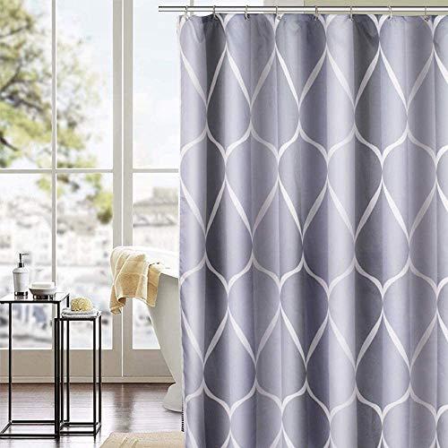 trounistro Duschvorhäng, Duschvorhang Anti-Schimmel Duschvorhang aus Polyester Wasserabweisend Shower Curtain Anti-Bakteriell mit 12 Duschvorhangringen (weiß grau, 180 * 200)