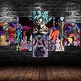 YUXIXI Pintura De Dibujos Animados De Goku Son Composición De 5 Cuadros De Madera para Pared Decorativas para Salón, Comedor, Habitación, Dormitorio, Pasillo. Set De 5 Posters Modernos 150 X 80 Cm*/
