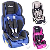 KIDIMAX Autokindersitz Kindersitz Kinderautositz, Sitzschale, universal, zugelassen nach ECE R44/04, in 3, 9 kg - 36 kg 1-12 Jahre, Gruppe 1/2 / 3 (Blau)