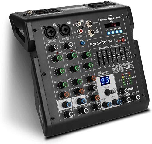 4-Kanal-Mixer 99 Effekte 7-Band-EQ Bluetooth-Studio-Audio-Mixer für PC-Aufnahmeeingang, XLR-Mikrofonbuchse, 48V-Strom, Cinch-Eingang/Ausgang für Profis und Anfänger-Bomaite B4, Schwarz