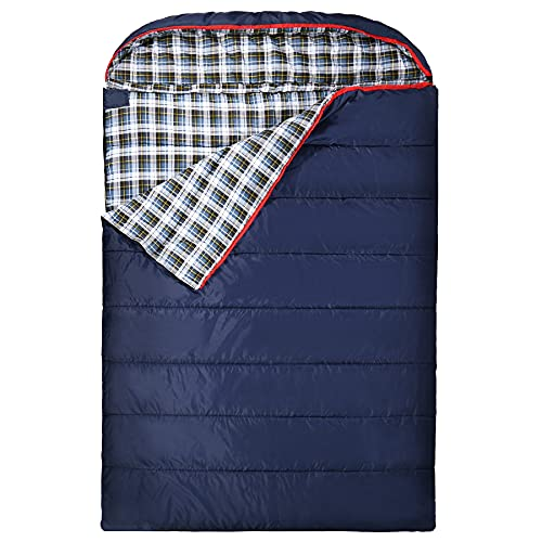 REDCAMP Double Sleeping Bag for Adults, 2 Person Cold Weather Queen Size Flannel Sleeping Bags for Camping, Navy Blue
