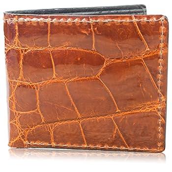 Genuine Alligator Skin Leather Bifold Wallet Handmade  8 Card Slots Cognac