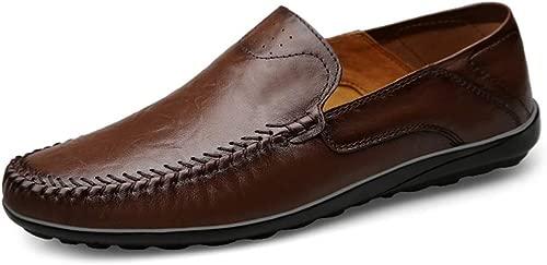 YUQINN 2019 Mode Herren Driving Penny Loafers Leder Upper Flat Stitch Dress Schuhe Round Toe Elastic Light-Weight Slip-on (Farbe   Dunkelbraun, Größe   39 EU)
