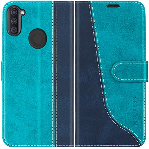 Mulbess Handyhülle für Samsung Galaxy M11 Hülle, Samsung M11 Hülle Leder, Etui Flip Handytasche Schutzhülle für Samsung Galaxy M11 / A11 Hülle, Mint Blau
