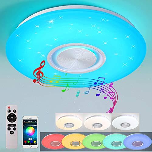 24W Bluetooth Deckenleuchte LED RGB Deckenlampe mit Bluetooth Lautsprecher APP-Steuerung und Fernbedienung (400 * 55mm)