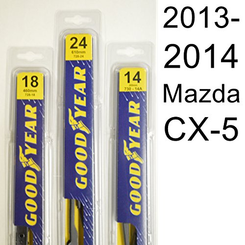 Mazda CX-5 (2013-2014) Wiper Blade Kit - Set Includes 24' (Driver Side), 18' (Passenger Side) , 14A' (Rear Blade) (3 Blades Total)