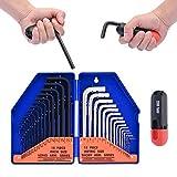 31 PCS Allen Hex Key Wrench Set, Torque Rod, Helping T-handle, Double Color Storage Case, Inch/Metric, 31-Piece, MM (0.7 mm-10 mm) S A E (0.028'-3/8)- Unique Tools for Men, Mechanic