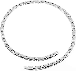 N+NITROLUBE Silver Magnetic Necklace for Women Men Healing Therapy Shoulder Titanium Necklaces Fashion Magnetic Jewelry Gi...