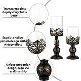 NUPTIO Set mit 2 Kerzenhaltern für Stumpenkerzen mit Glasabdeckung, Antiker Metall-Hurricane-Kerzenhalter Perfekt für Die Dekoration des Kamin-Esstisches Im Mittelpunkt, Halloween Weihnachten Deko - 5