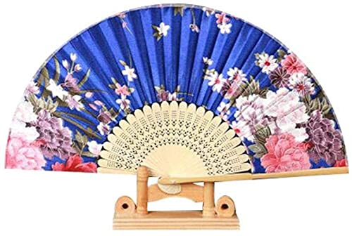 GLXLSBZ Bolsillo de Abanico de Estilo Chino Chino Hecho a Mano con Matrimonio Azul Floral de Accesorios de Baile de Cosplay Chinease (Regalo de cumpleaos de Vacaciones)