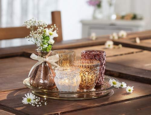 """6tlg. Deko Set """"Orient"""", Glastablett mit 3 Windlichtern und 2 Vasen, Teelichthalter"""