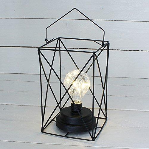 MACOSA NO88171 draadlamp LED metaal zwart modern 12 x 12 cm om neer te zetten en op te hangen tafellamp bedlampje decoratie decoratieve lamp