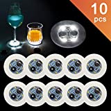 Ahier LED Coaster,10 Pcs Led Coasters for Drinks, Led Bar Coaster, Waterproof Coaster Perfect For Party, Wedding, Bar(white)