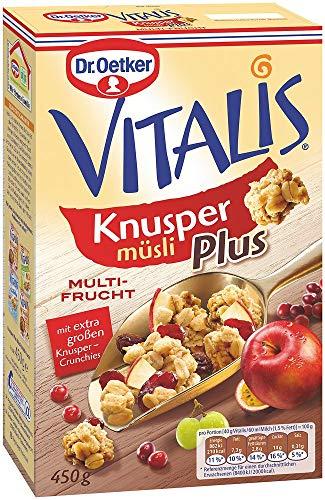 Dr. Oetker Vitalis KnusperPlus Multi-Frucht, Knuspermüsli mit einer Auswahl erlesener Früchte, 7er Packung (7 x 450g)