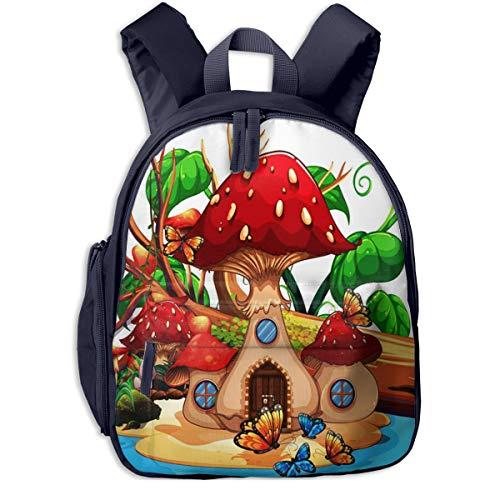 Kinderrucksack Kleinkind Jungen Mädchen Kindergartentasche Tierpilz Haus Teich Backpack Schultasche Rucksack