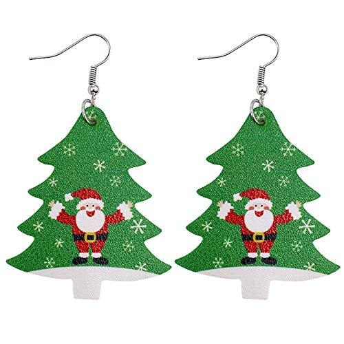 BBQQ Weihnachten Kunstleder Ohrringe Teardrop Dangle Ohrringe Blütenblatt Tropfen Ohrringe, Weihnachtsschmuck Ausverkauf Baum Ornamente Rock Topper Lichter Pyjamas für die Familie