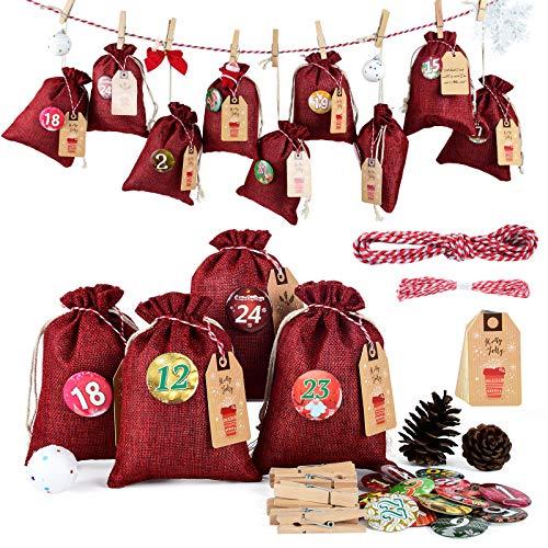 Adventskalender zum Befüllen Groß (13x17cm), Weihnachtskalender Jutesäckchen Selberfüllen, 24 jutebeutel Kette zum selber befüllbar und Aufhängen, 2020 Geschenksäckchen für Kinder Männer Rot