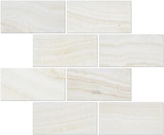 White Onyx (Bianco Fantastico) 3 X 6 Subway Brick Tile, Vein-Cut, Polished - SAMPLE