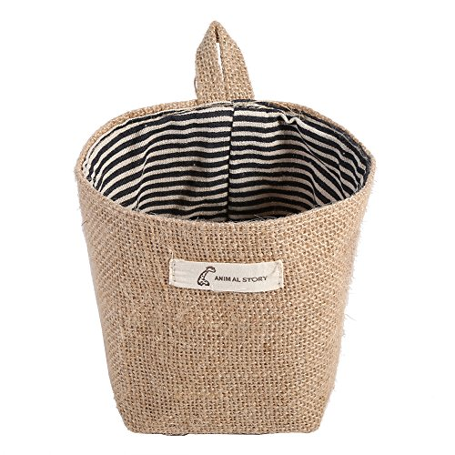 Fdit Cesto de lino de algodón para colgar la ropa, bolsa para el hogar, organizador de almacenamiento de artilugios plegable (rayas azules)