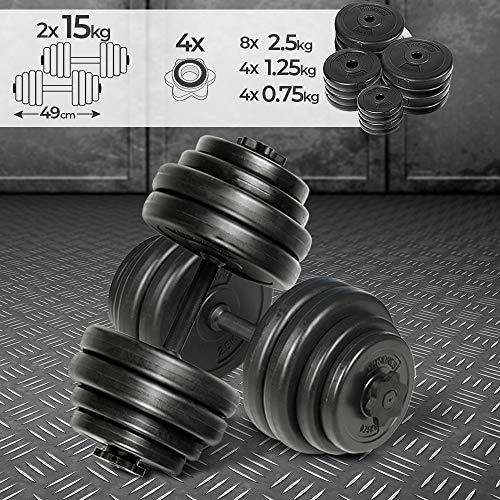 Physionics® Kurzhantel Set 30 kg (2 x 15 kg) - inkl. 16 Gewichte aus Kunststoff, 2 Hantelstangen und 4 Sternverschlüssen aus Metall, Griff gerändelt, Ø 25 mm - Hantelstangen, Kurzhanteln